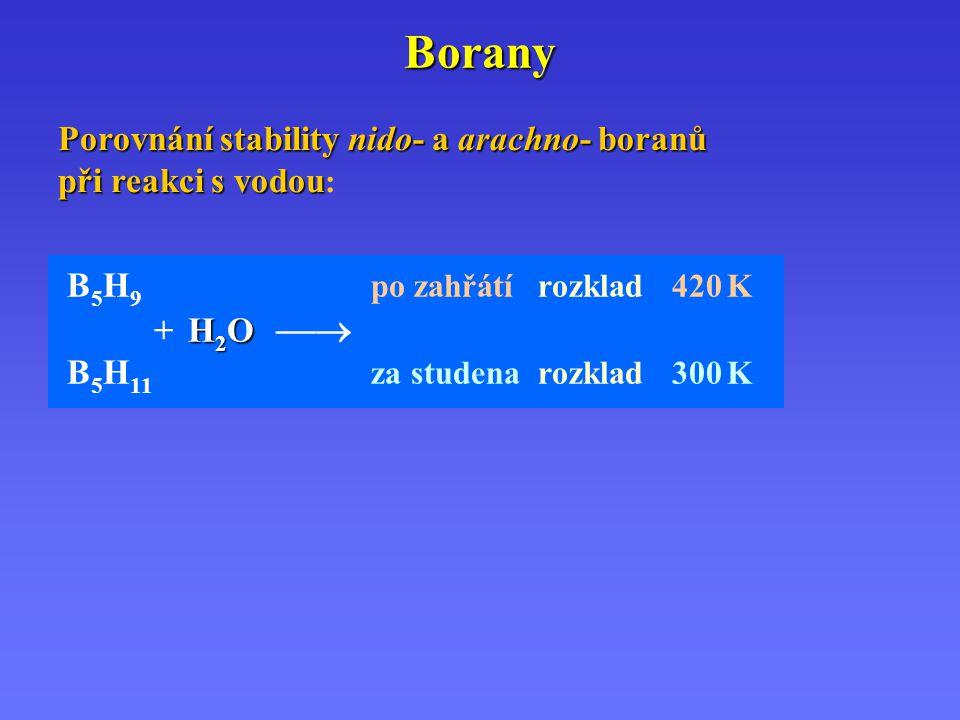 Borany Porovnání stability nido- a arachno- boranů při reakci s vodou: