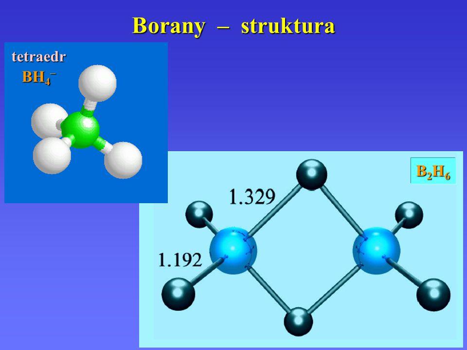 Borany – struktura tetraedr BH4– B2H6
