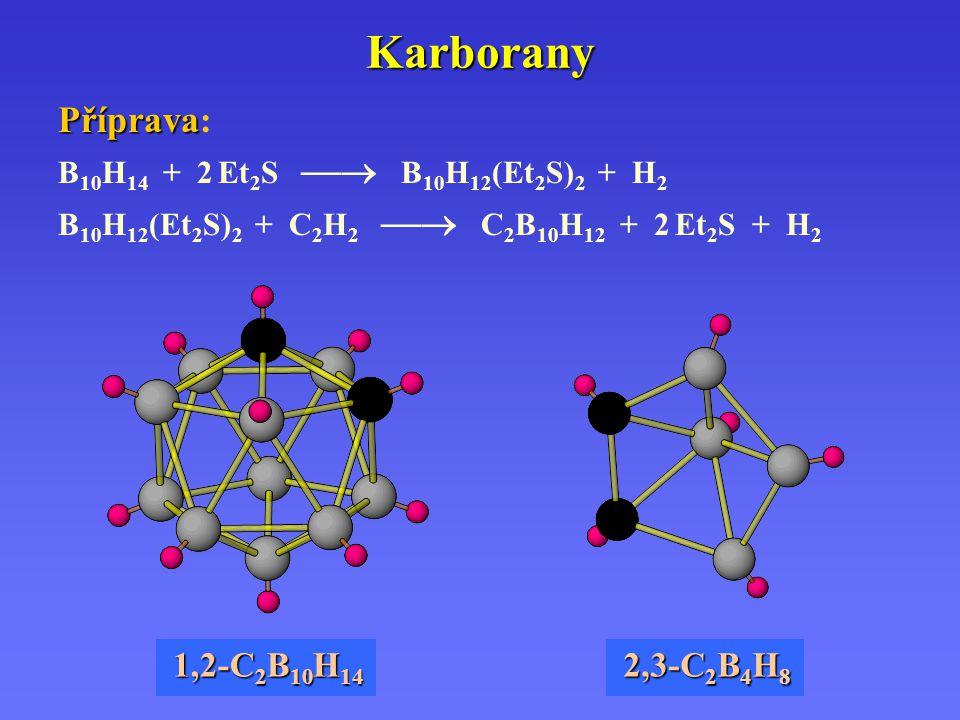 Karborany Příprava: 1,2-C2B10H14 2,3-C2B4H8