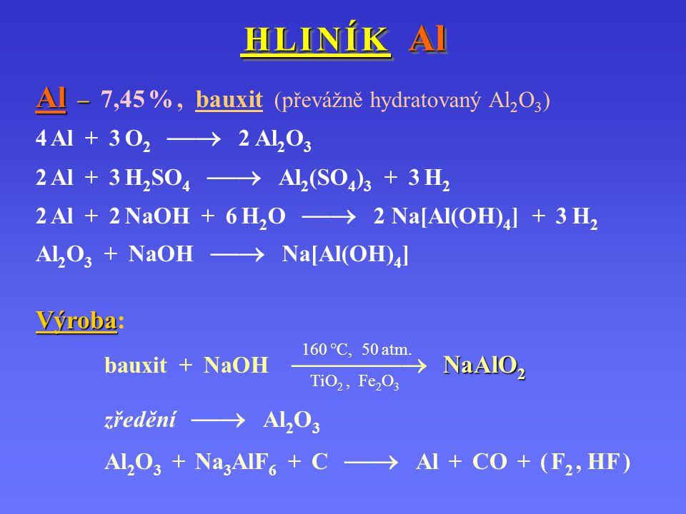 Al – 7,45 % , bauxit (převážně hydratovaný Al2O3)