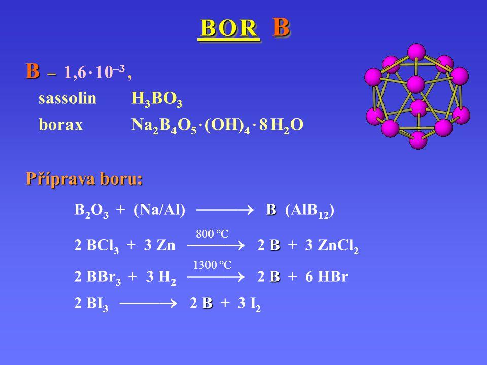 B – 1,6 · 10–3 , Příprava boru: sassolin H3BO3