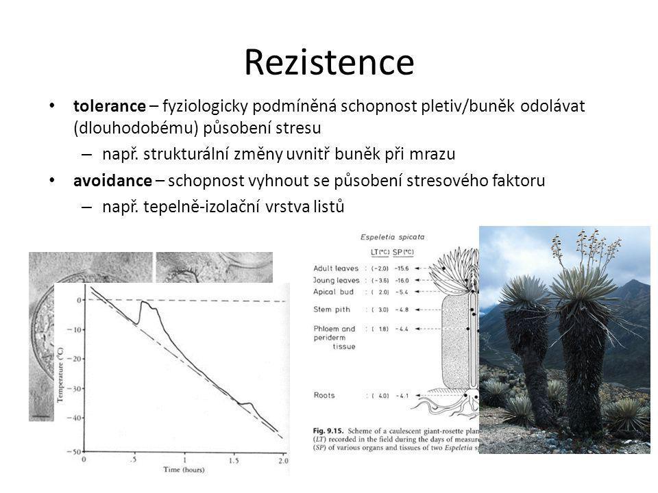 Rezistence tolerance – fyziologicky podmíněná schopnost pletiv/buněk odolávat (dlouhodobému) působení stresu.