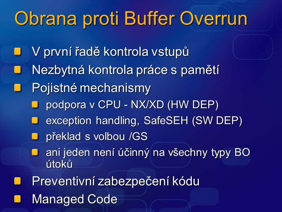 Obrana proti Buffer Overrun