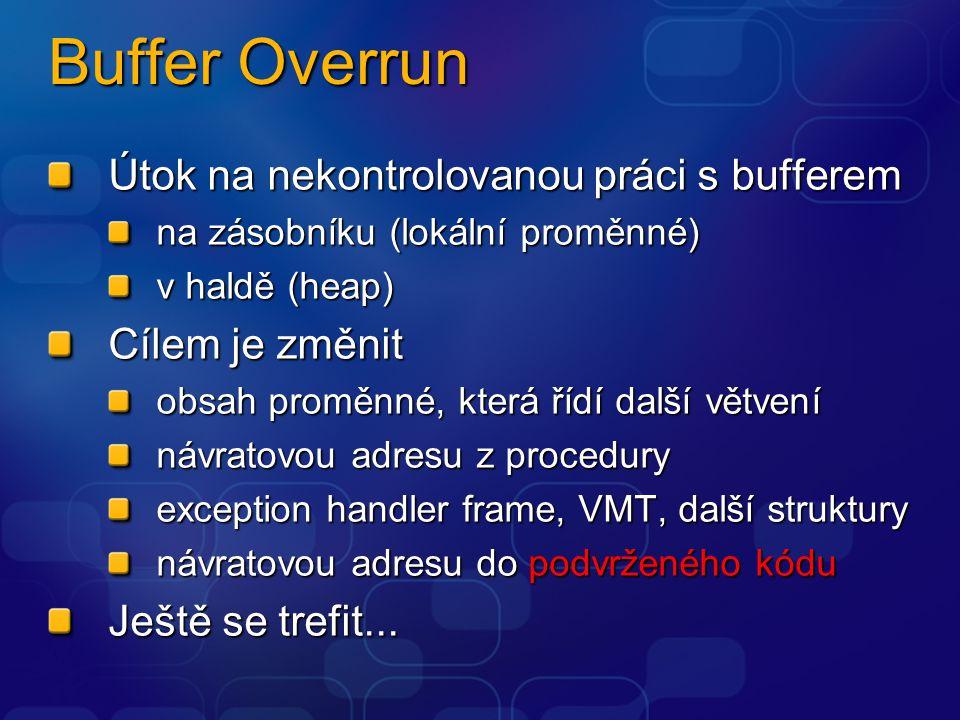 Buffer Overrun Útok na nekontrolovanou práci s bufferem