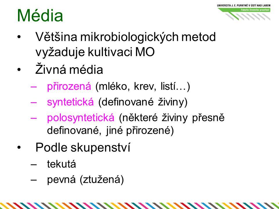 Média Většina mikrobiologických metod vyžaduje kultivaci MO