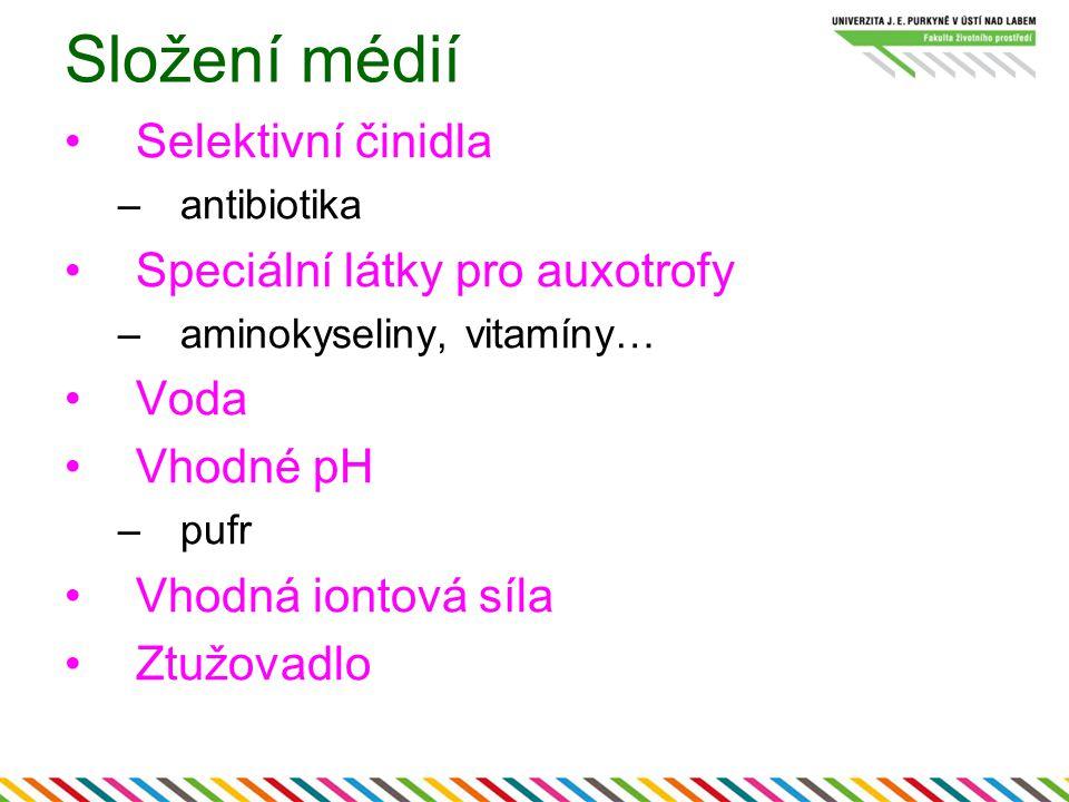 Složení médií Selektivní činidla Speciální látky pro auxotrofy Voda