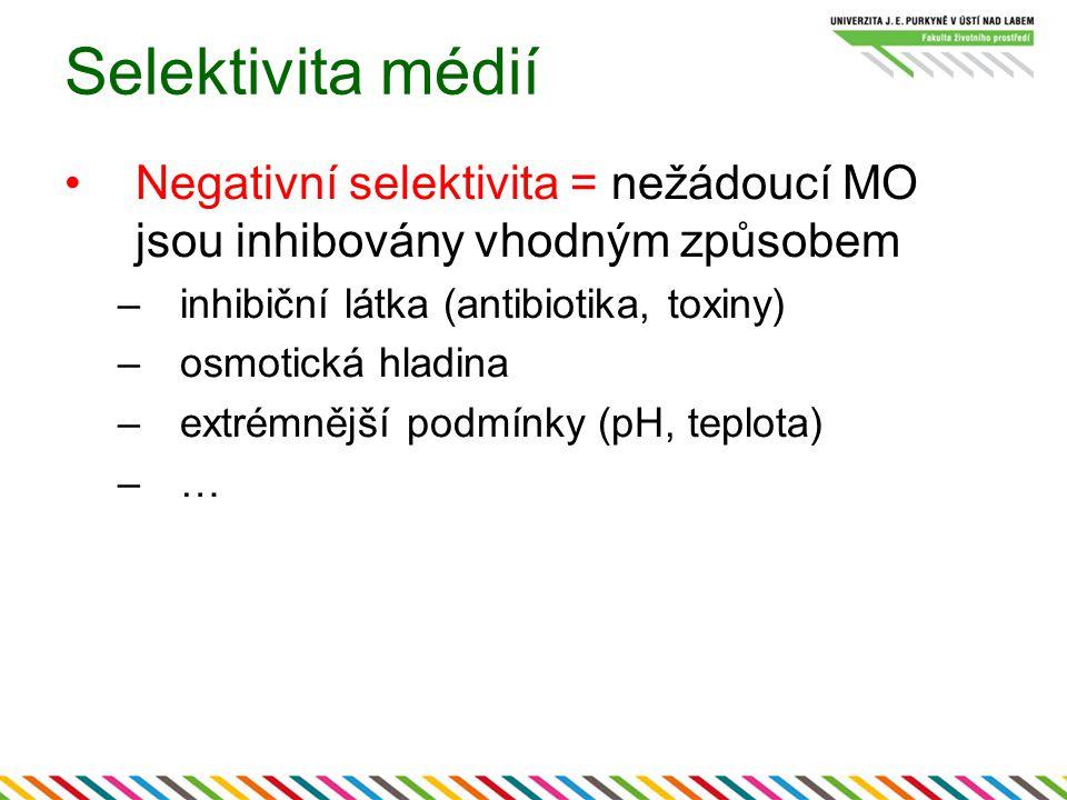 Selektivita médií Negativní selektivita = nežádoucí MO jsou inhibovány vhodným způsobem. inhibiční látka (antibiotika, toxiny)