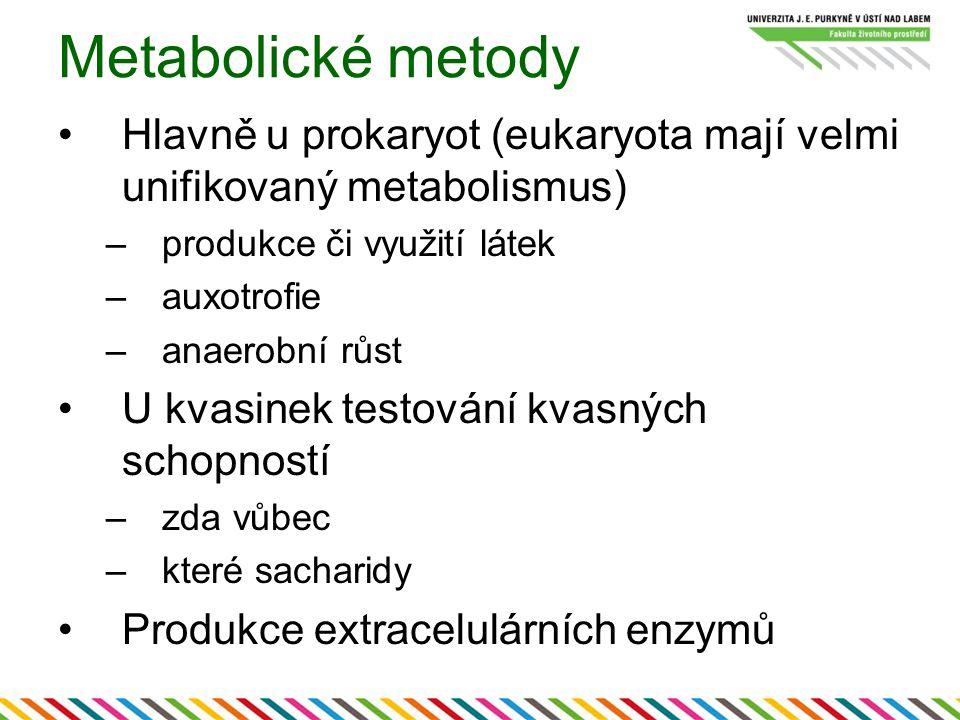 Metabolické metody Hlavně u prokaryot (eukaryota mají velmi unifikovaný metabolismus) produkce či využití látek.
