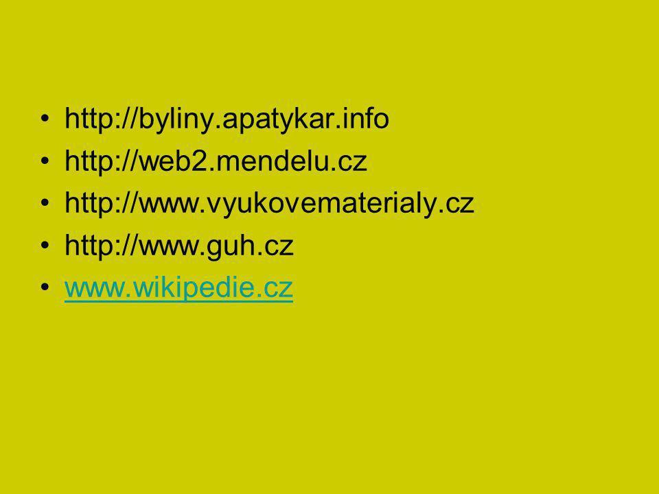 http://byliny.apatykar.info http://web2.mendelu.cz. http://www.vyukovematerialy.cz. http://www.guh.cz.
