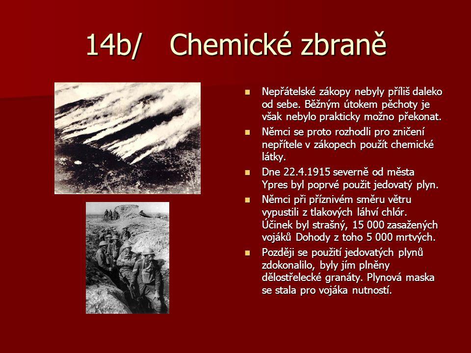 14b/ Chemické zbraně Nepřátelské zákopy nebyly příliš daleko od sebe. Běžným útokem pěchoty je však nebylo prakticky možno překonat.