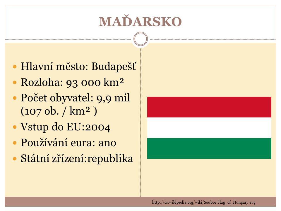 MAĎARSKO Hlavní město: Budapešť Rozloha: 93 000 km²