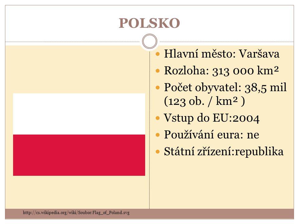 POLSKO Hlavní město: Varšava Rozloha: 313 000 km²