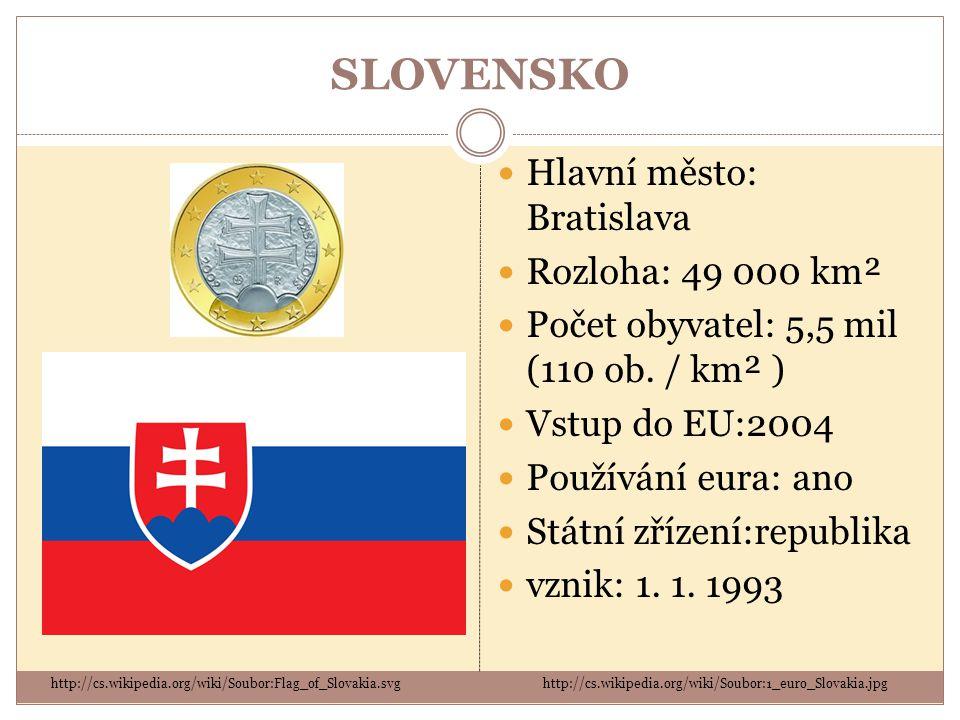 SLOVENSKO Hlavní město: Bratislava Rozloha: 49 000 km²