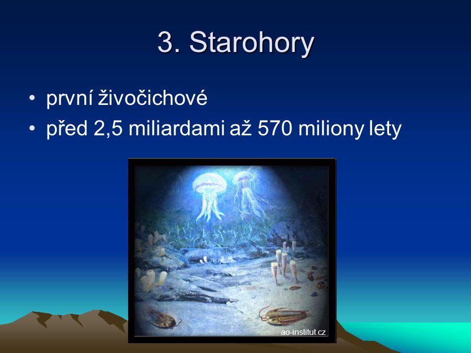 3. Starohory první živočichové před 2,5 miliardami až 570 miliony lety