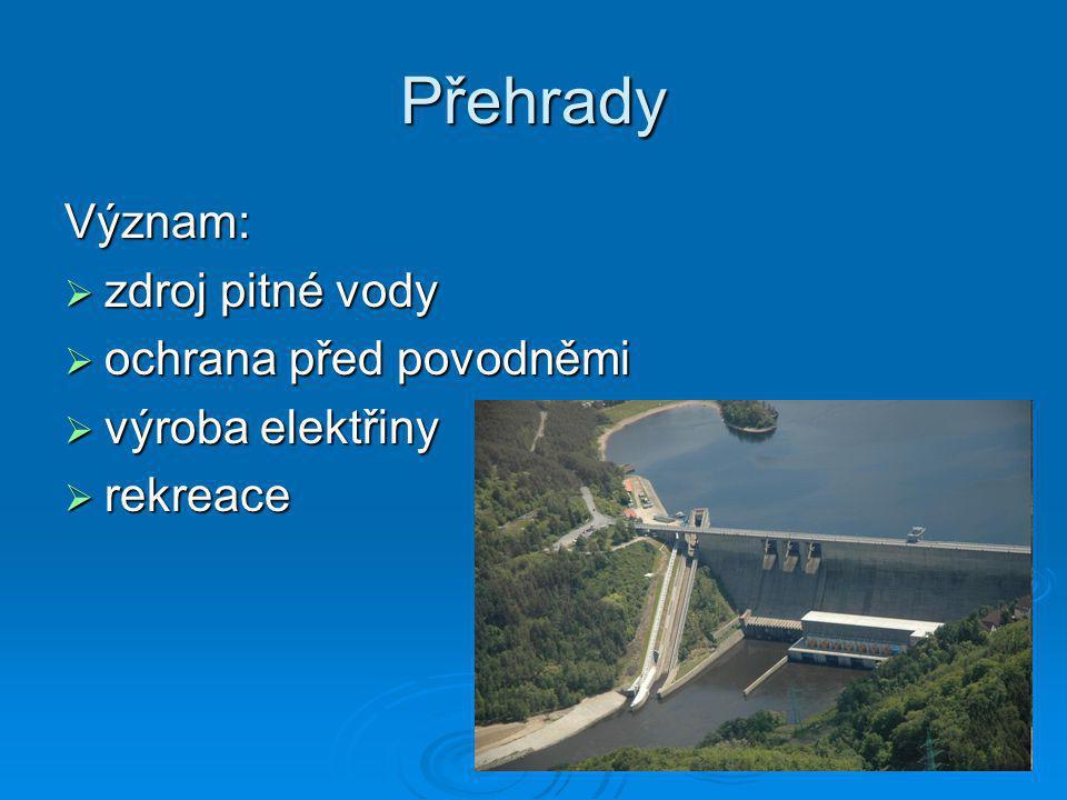 Přehrady Význam: zdroj pitné vody ochrana před povodněmi