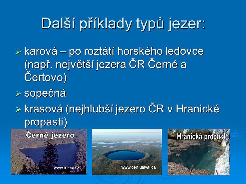 Další příklady typů jezer: