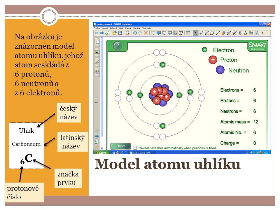 Na obrázku je znázorněn model atomu uhlíku, jehož atom seskládá z 6 protonů, 6 neutronů a z 6 elektronů.