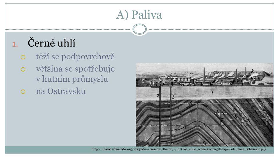 A) Paliva Černé uhlí těží se podpovrchově