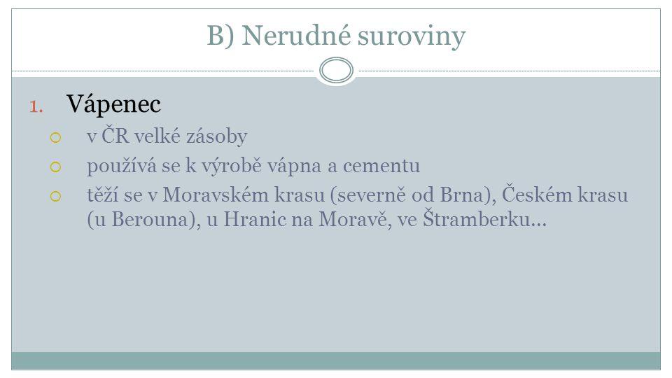 B) Nerudné suroviny Vápenec v ČR velké zásoby