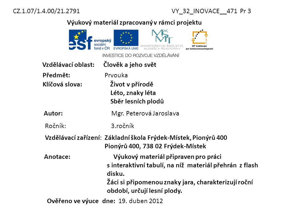 CZ.1.07/1.4.00/21.2791 VY_32_INOVACE__471 Pr 3. Výukový materiál zpracovaný v rámci projektu. Vzdělávací oblast: Člověk a jeho svět.