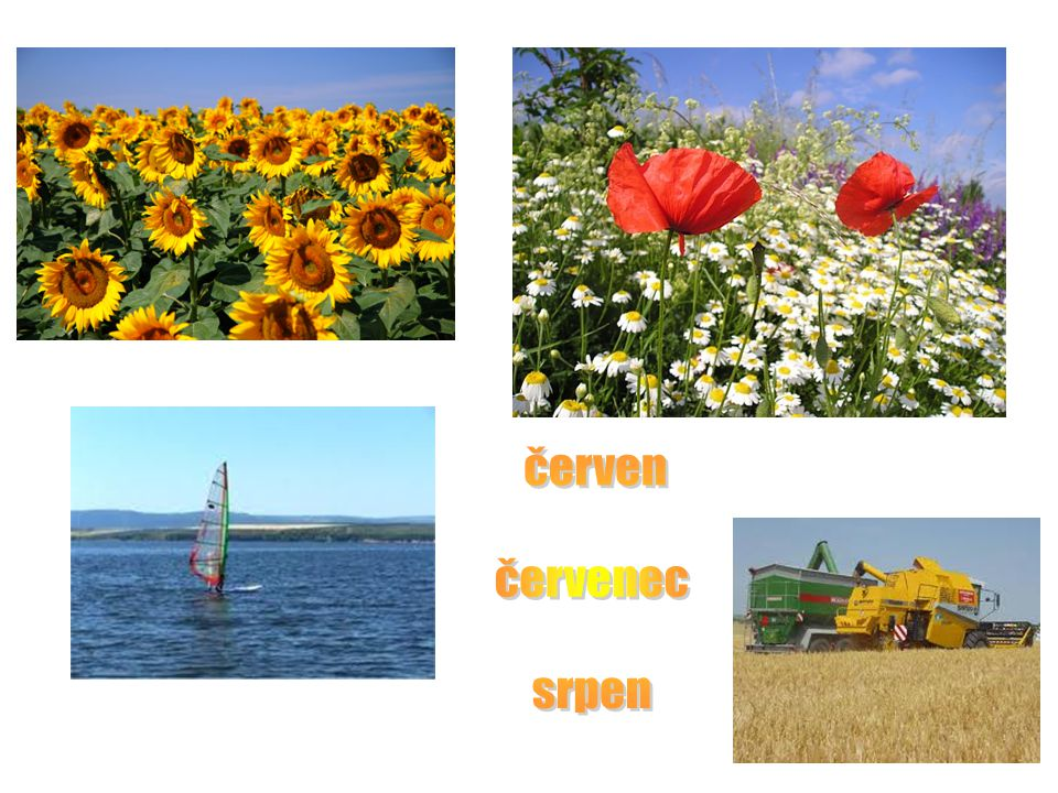 červen červenec srpen Letní měsíce – žáci charakterizují obrázky. Učitel každý obr. Odklikne.