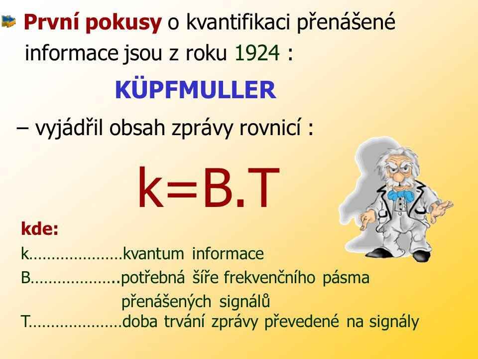 k=B.T První pokusy o kvantifikaci přenášené