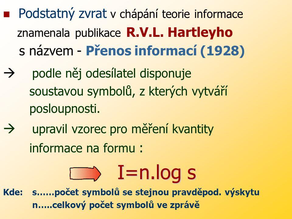 I=n.log s Podstatný zvrat v chápání teorie informace