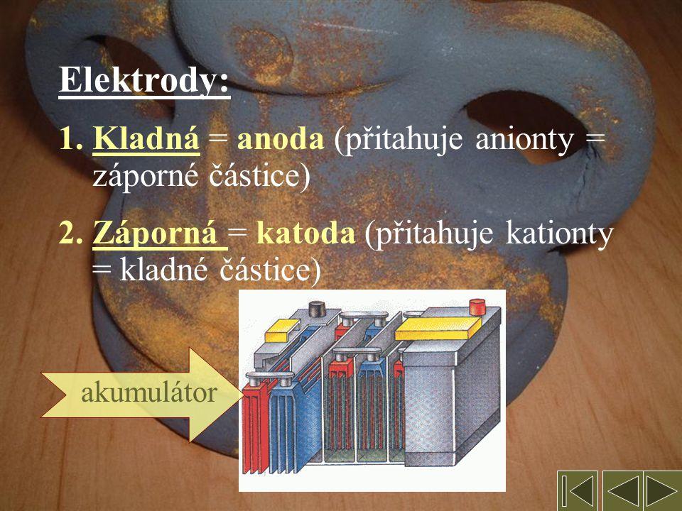 Elektrody: Kladná = anoda (přitahuje anionty = záporné částice)