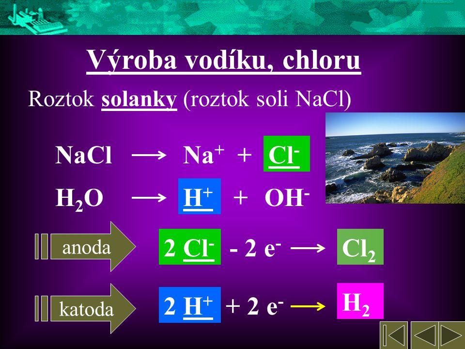 Výroba vodíku, chloru NaCl Na+ + Cl- H2O H+ + OH- 2 Cl- - 2 e- Cl2 H2