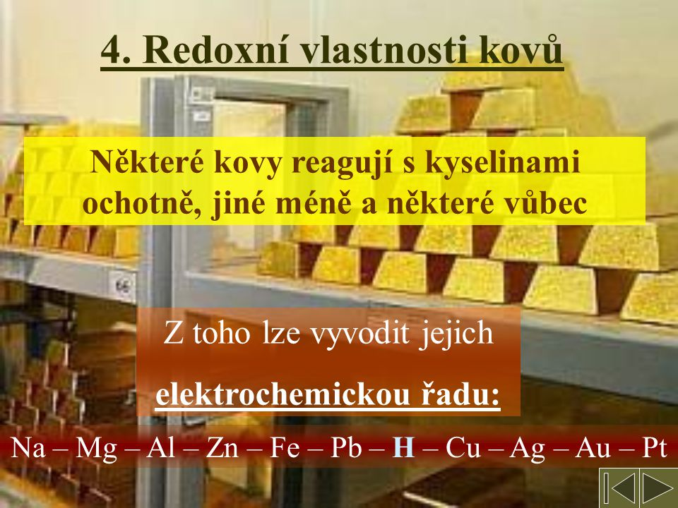 4. Redoxní vlastnosti kovů