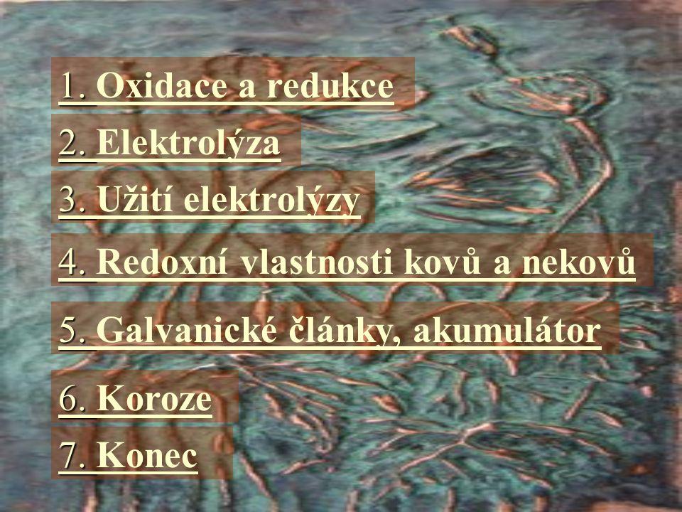 1. Oxidace a redukce 2. Elektrolýza. 3. Užití elektrolýzy. 4. Redoxní vlastnosti kovů a nekovů. 5. Galvanické články, akumulátor.