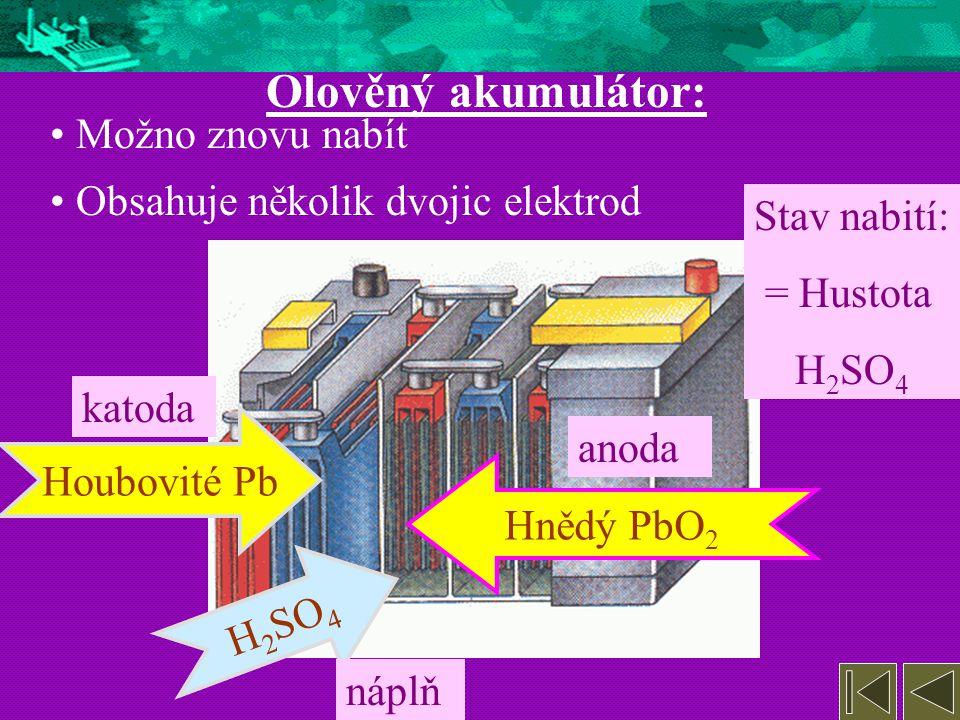Olověný akumulátor: Možno znovu nabít Obsahuje několik dvojic elektrod