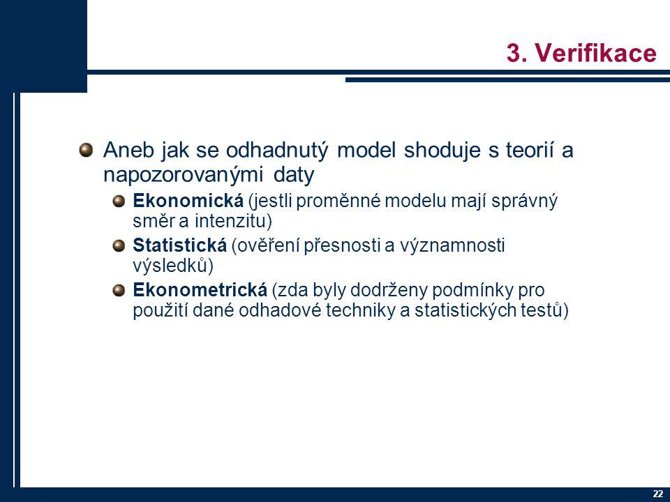 3. Verifikace Aneb jak se odhadnutý model shoduje s teorií a napozorovanými daty. Ekonomická (jestli proměnné modelu mají správný směr a intenzitu)