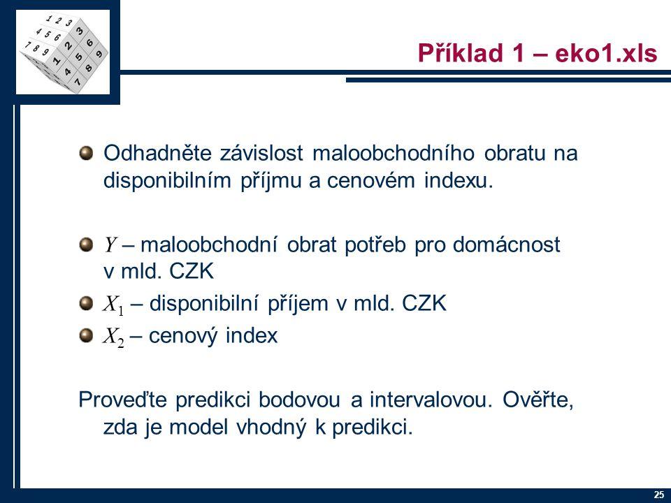 Příklad 1 – eko1.xls Odhadněte závislost maloobchodního obratu na disponibilním příjmu a cenovém indexu.
