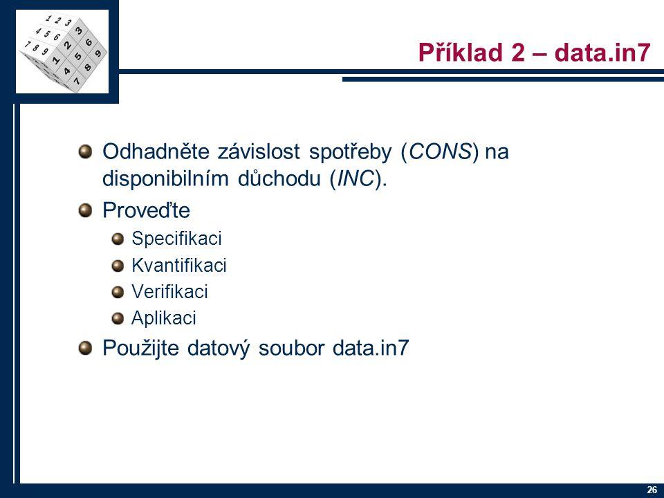Příklad 2 – data.in7 Odhadněte závislost spotřeby (CONS) na disponibilním důchodu (INC). Proveďte.