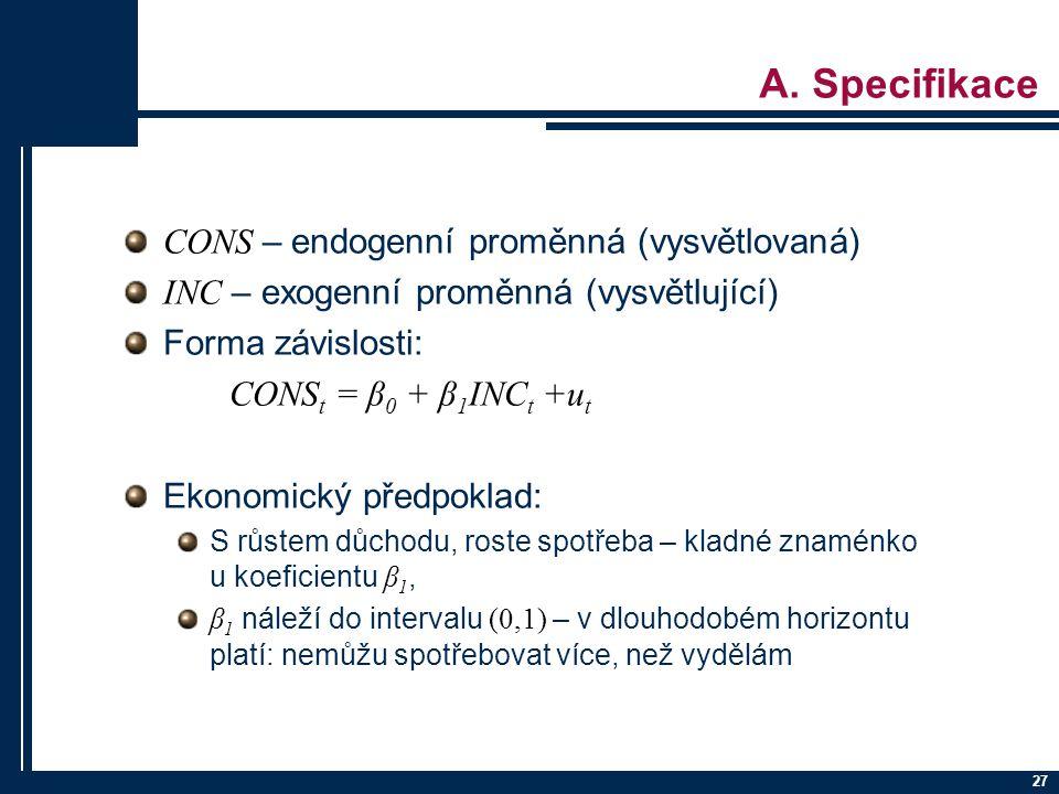 A. Specifikace CONS – endogenní proměnná (vysvětlovaná)