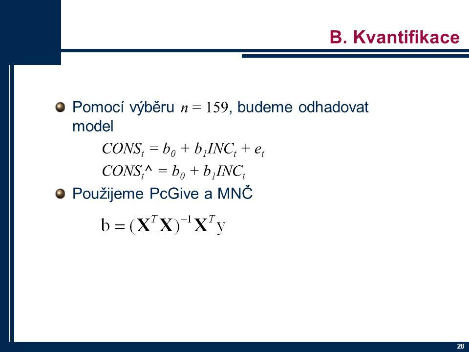 B. Kvantifikace Pomocí výběru n = 159, budeme odhadovat model