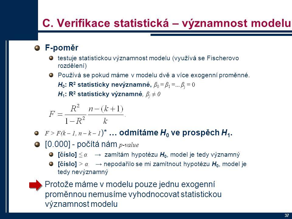 C. Verifikace statistická – významnost modelu