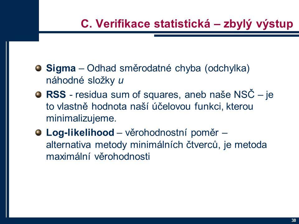 C. Verifikace statistická – zbylý výstup