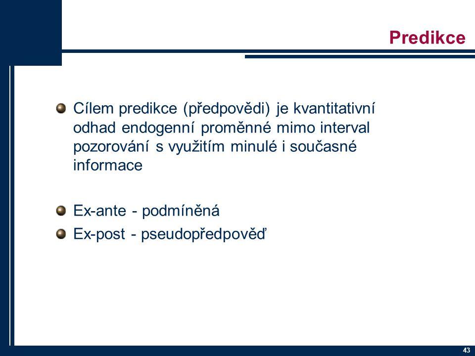 Predikce Cílem predikce (předpovědi) je kvantitativní odhad endogenní proměnné mimo interval pozorování s využitím minulé i současné informace.