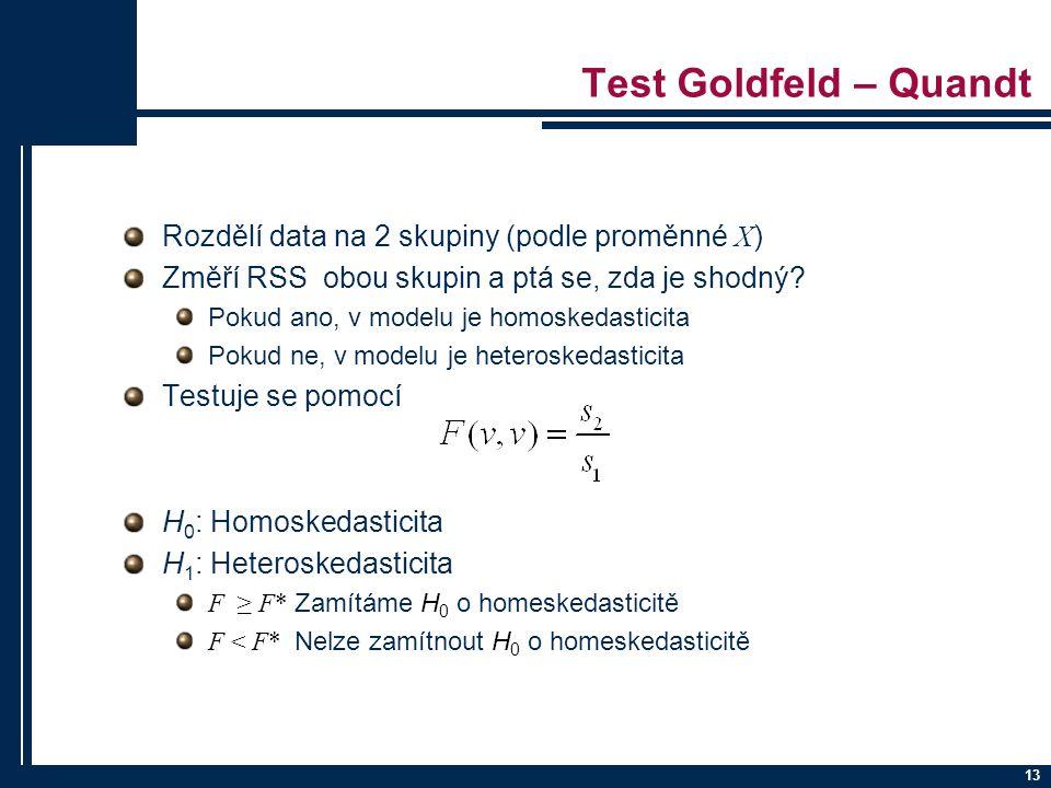 Test Goldfeld – Quandt Rozdělí data na 2 skupiny (podle proměnné X)