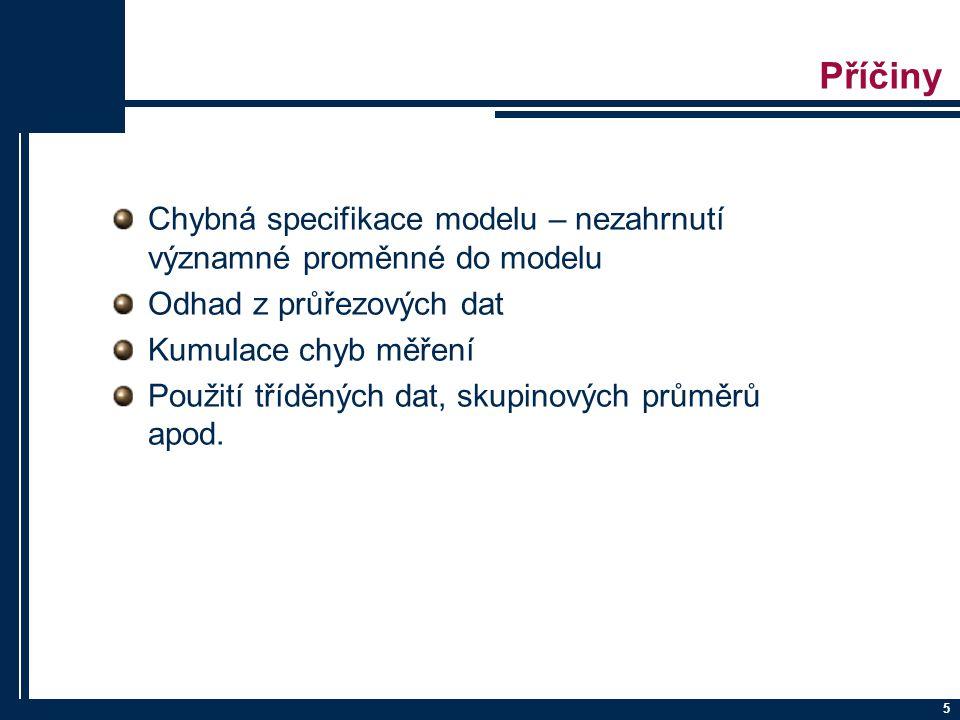 Příčiny Chybná specifikace modelu – nezahrnutí významné proměnné do modelu. Odhad z průřezových dat.