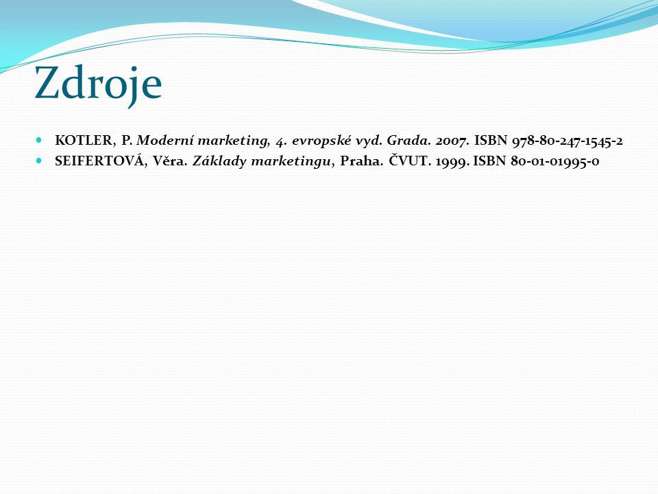 Zdroje KOTLER, P. Moderní marketing, 4. evropské vyd. Grada. 2007. ISBN 978-80-247-1545-2.