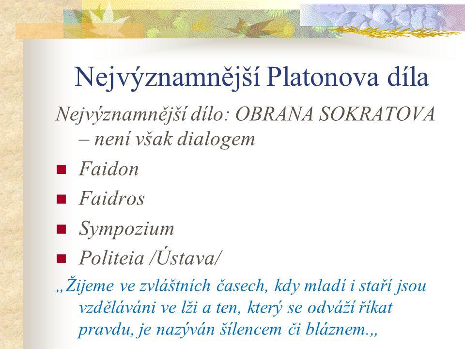 Nejvýznamnější Platonova díla