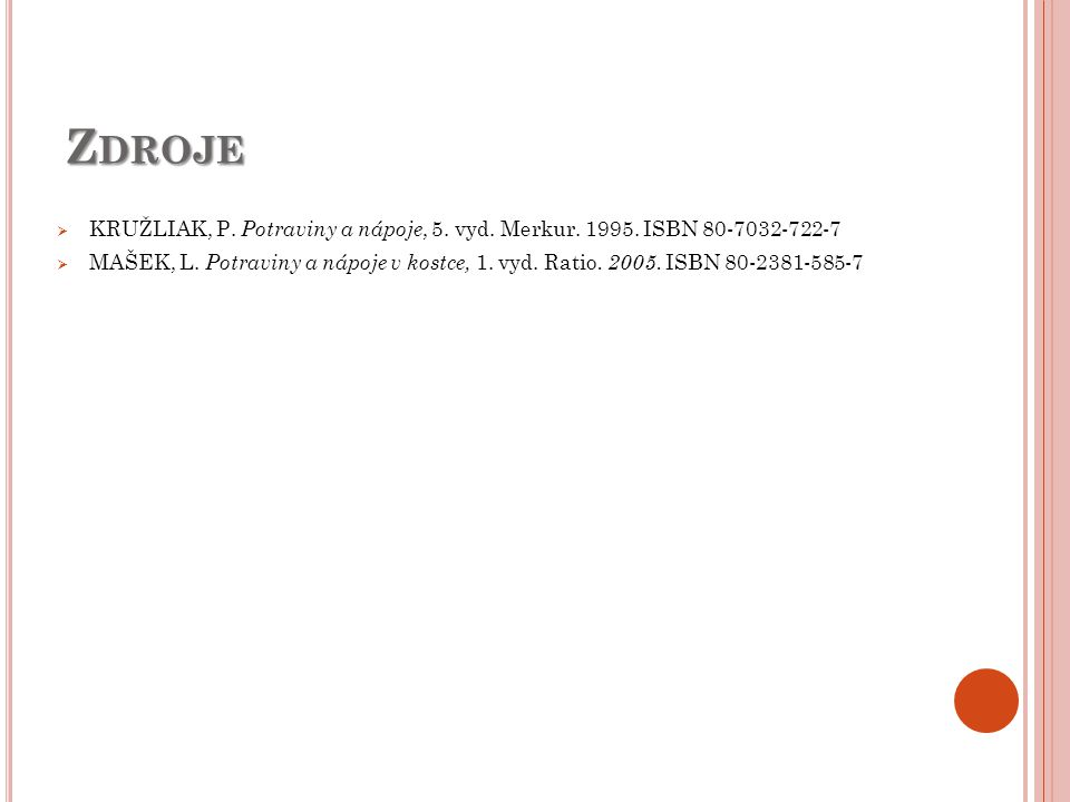 Zdroje KRUŽLIAK, P. Potraviny a nápoje, 5. vyd. Merkur. 1995. ISBN 80-7032-722-7.