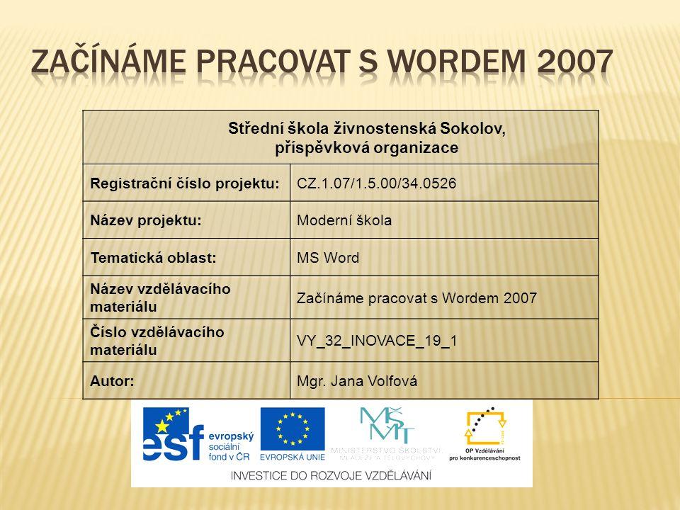 ZAČÍNÁME PRACOVAT S WORDEM 2007