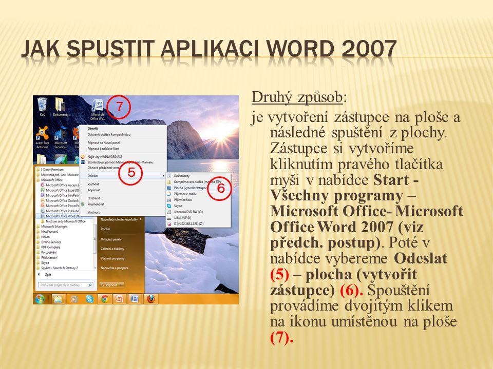 Jak spustit aplikaci Word 2007