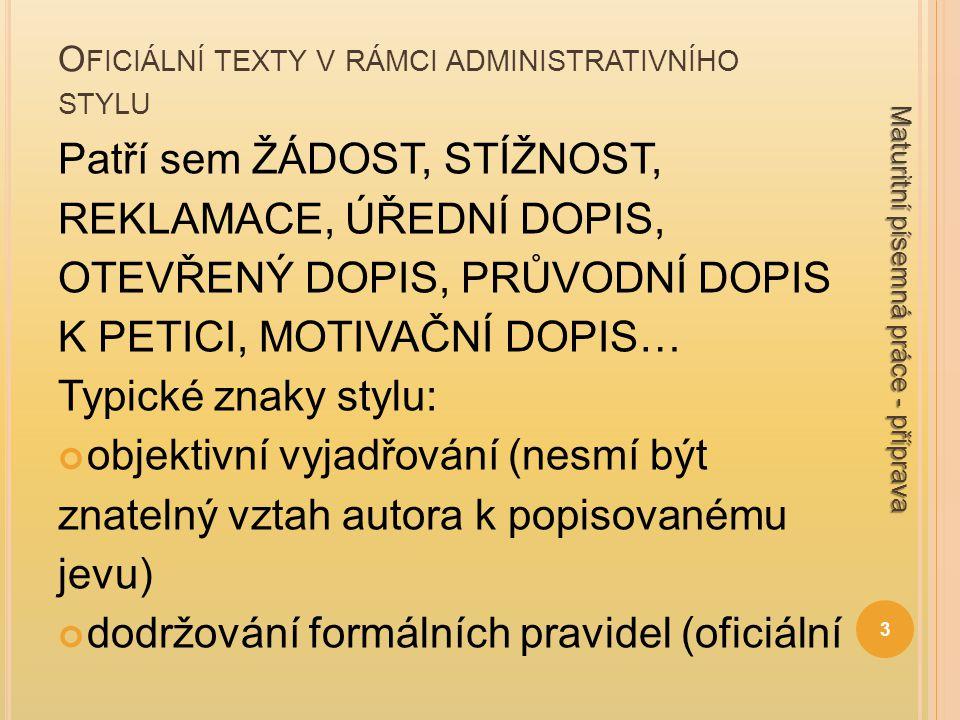 Oficiální texty v rámci administrativního stylu