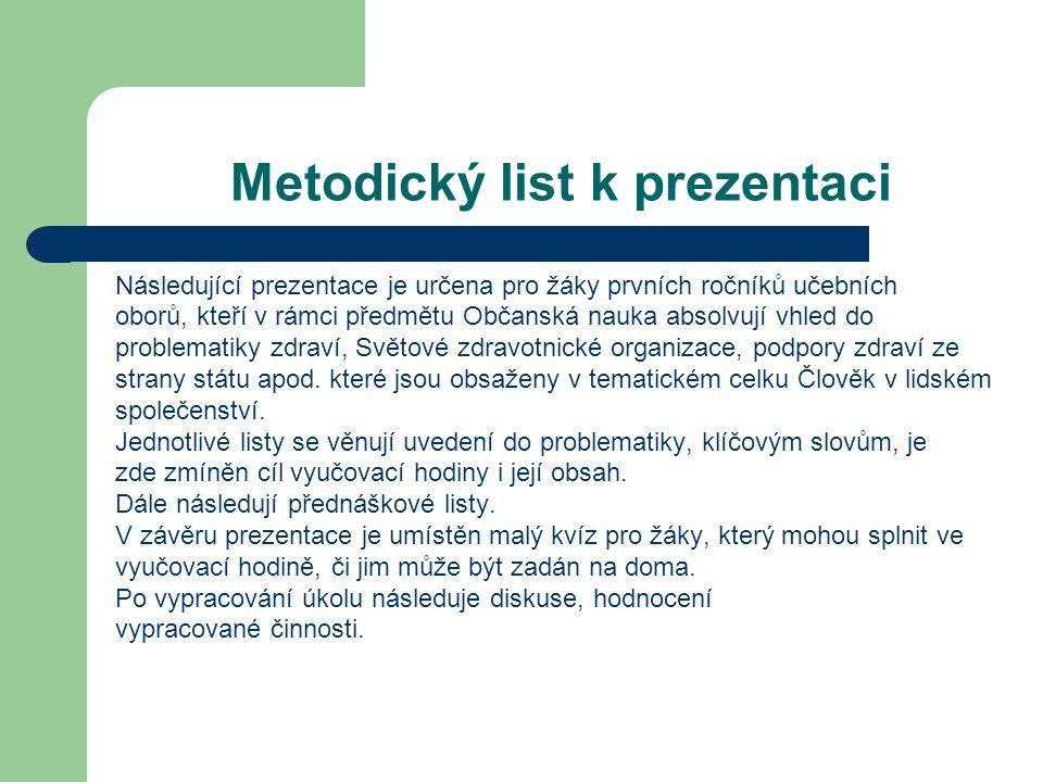 Metodický list k prezentaci