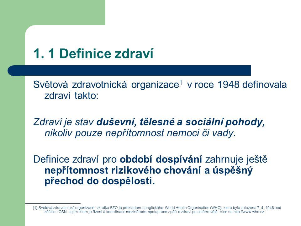 1. 1 Definice zdraví Světová zdravotnická organizace1 v roce 1948 definovala zdraví takto: